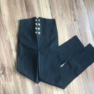 Bilby Black High Waist Trousers - Medium